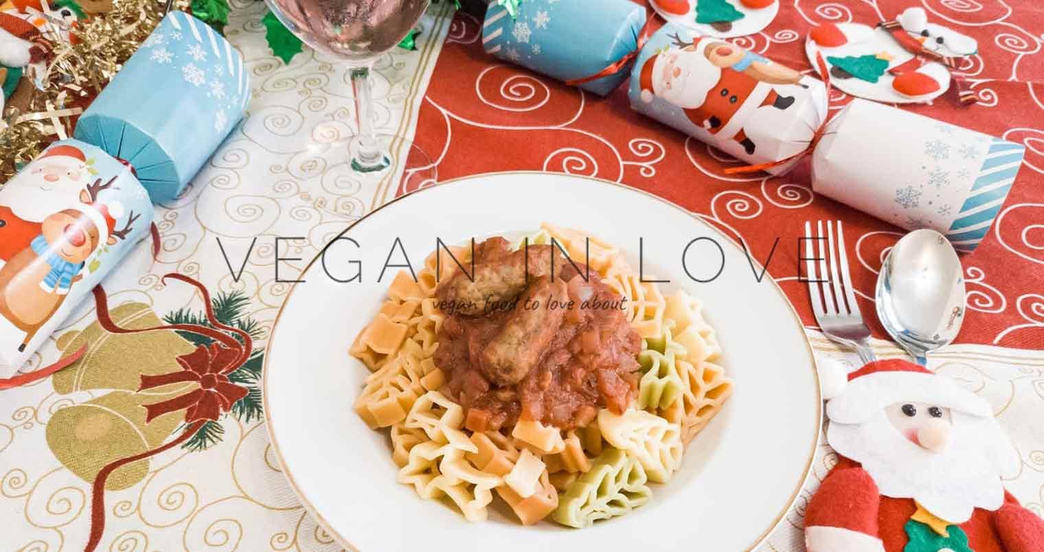 Christmas pasta with tomato and sausage sauce